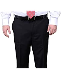 Portly Fit Solid Black Flat Front Washable Dress Pants