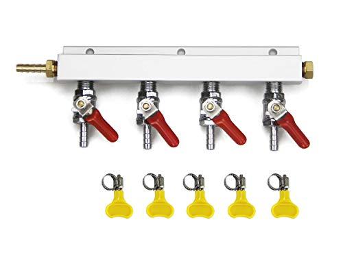 - SupYaque 2/3/4 Way Beer Splitter Gas Manifold CO2 Air Distributor Kegerator Distributor Manifold with Integrated Check Valves 1/4