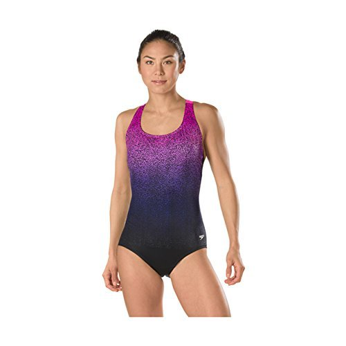 Speedo Women's Engineered Print Ultra back Power flex Eco One Piece Swimsuit, 18, Deep - Swimsuits Eco