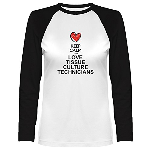 Keep calm and love Tissue Culture Tech Women Raglan Long Sleeve (Ladies Tissue Raglan T-shirt)