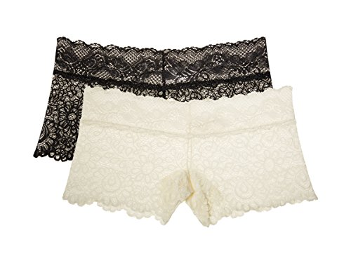 Antique Cotton Lace (Nanette Nanette Lepore Women's 2 Pack Boyleg Lace Panties With Scalloped Waistband Antique White/Onyx Large)