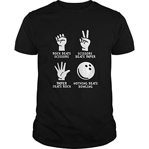 Bowling-Rock Paper Nothing Beats Bowling T Shirt Men Funny Letter Print Short Black (Round Bowling In Rock)