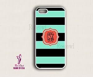 LJF phone case Monogram iPhone Cases - Green Black stripes Polygon iPhone Case, iphone 4/4s Ca...