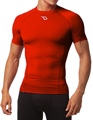 Defender Men's Cool Dry Compression Baselayer Quick Dry Running Shirt, Red, Medium