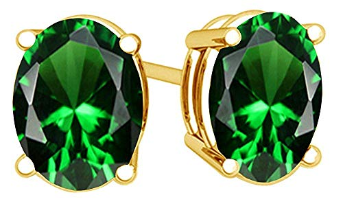 Simulated Green Emerald Oval Shape Stud Earrings In 14K Yellow Gold Over Sterling Silver (2 Ct)