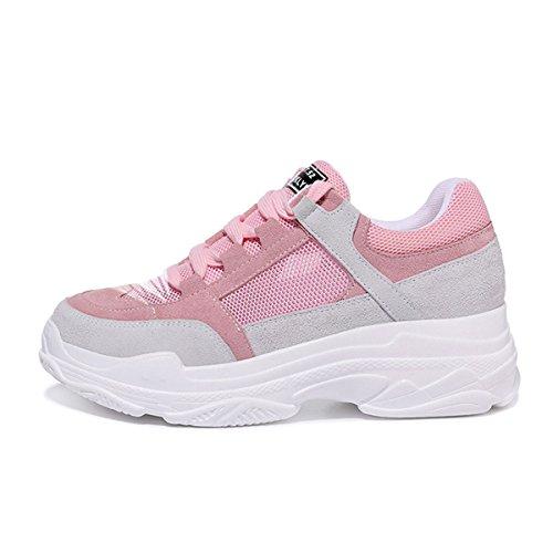 Casuales Zapatos Gruesa Color Rosado 35 Medias de Zapatillas con Mujeres Otoño tamaño y Deporte Rosado para Verano Suela Transpirable de Malla Primavera qwXwIa4