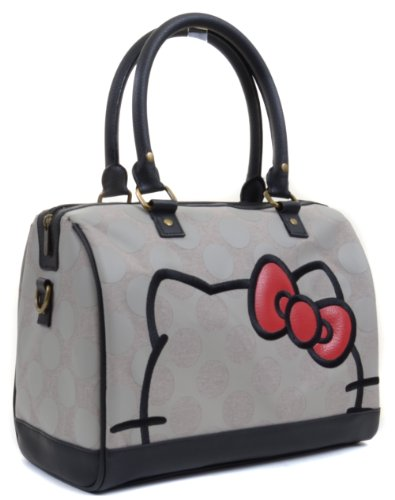 Hello Kitty and Bow Grey All Over Polka Dot Duffle Bag Purse, Bags Central