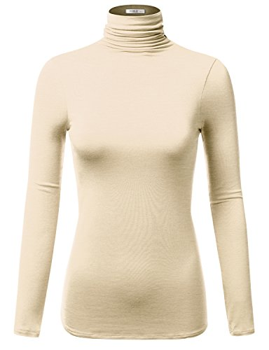 Oatmeal Color (J.TOMSON Women's Layering Rayon Jersey Long Sleeve Scrunch Turtleneck (S-3XL/20 Colors) OATMEAL XL)
