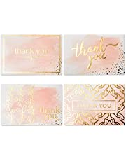 Layneria 100 Bulk Thank You Cards with Envelopes Foil Designs - Blank Thank You Notes with Envelopes for Wedding Bridal Gift Baby Shower Business Graduation Funeral - 4x6 Photo Size