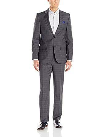Ben Sherman Men's Slim Fit Two Button Windowpane Suit, Grey, 36 Regular