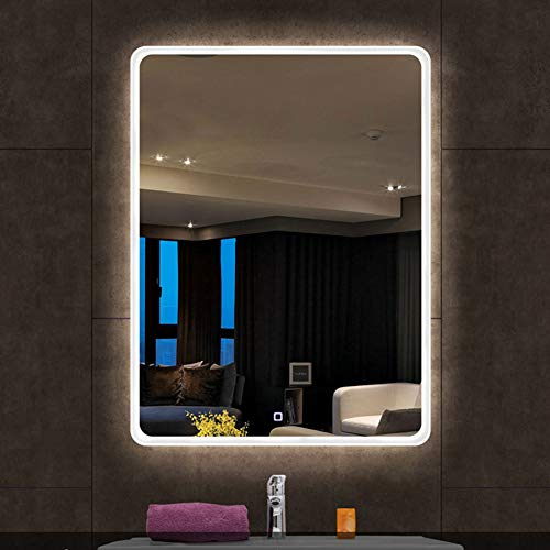 BATH LED Lighting Bathroom Mirror, Wall-Mounted + Intelligent Anti-Fog + dimmable Touch -