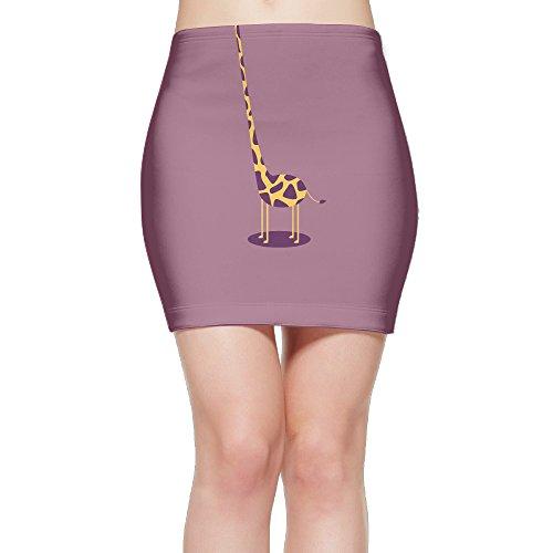 LeYue Women's Short Slim Fit Skirt Unique Print Skirt Giraffe Neck Mini Bodycon Skirt (Giraffe Print Skirt)