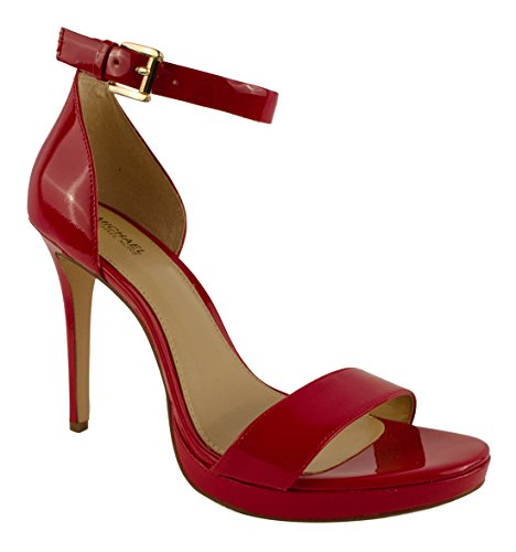 Michael Kors Womens Sienna Leather Open Toe Casual Ankle Strap, Red, Size 8.0