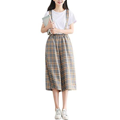通り奇妙な側Cozy Maker(C&M)サロペット デニム ショートパンツ レディース ジーパン オーバーオール オールインワン ジーンズ ボトムス パンツ シンプル かわいい ゆったり ポケット付き 着痩せ 通勤 チェック柄 スカート風