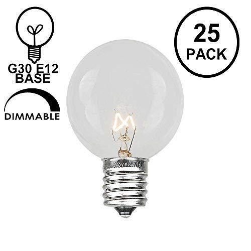 - Novelty Lights 25 Pack G30 Outdoor Globe Replacement Bulbs, Clear, C7/E12 Candelabra Base, 5 Watt