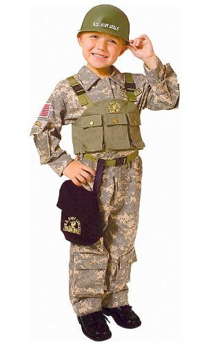 Dress up America Army Special Forces Costume Set with Navy Seal Helmet (S) by Dress up America (Soldiers Outfit)