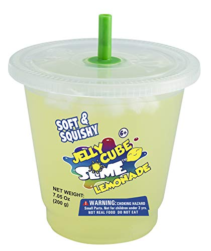 4 REAL SLIME-Jelly Cube Lemonade Slime-7.05 oz in a Cup Storage Container, Soft and Squishy, Scented