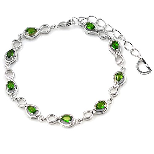 De Buman Sterling Silver Chrome Diopside Bracelet, (Diopside Sterling Silver Bracelet)