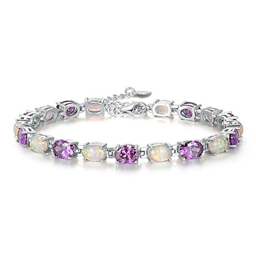 CiNily Adjustable Opal Amethyst Bracelets- Womens White Gold Plated Tennis Bracelet Women Jewelry Gemstone Bracelet
