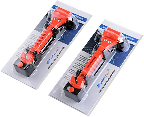 BlueSkyBos Value 2 Pack - Emergency Escape Tool Auto Car Window Glass Hammer Breaker and Seat Belt Cutter Escape 2-in-1 ()