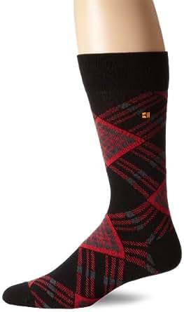 BOSS HUGO BOSS Men's Bright Argyle Crew Sock, Black, One Size