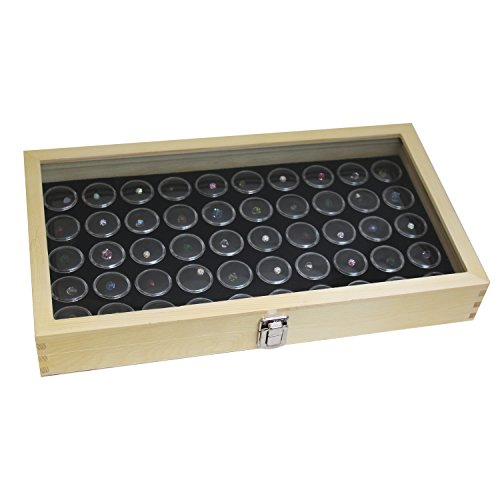 50 Black Gem Jars in Temper Glass Top Wood Display (Gem Hinge)