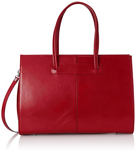 Femme sac à main dossier, porte-documents, 100% cuir véritable Made in Italy Rouge (Rosso)