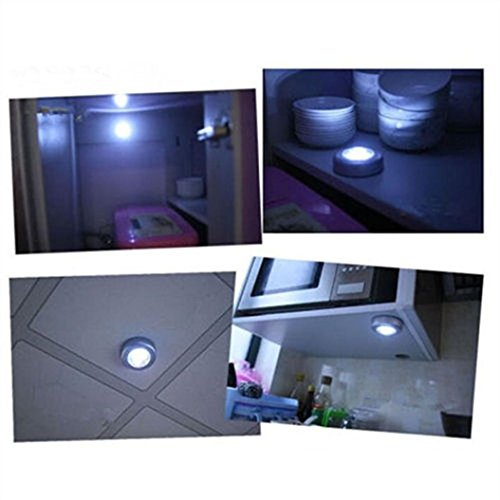LED Light ,Lavany® 4 LED Touch Night Light Home Kitchen Under Cabinet Closet Push Stick On Lamp (Silver) - 48' Cabinet