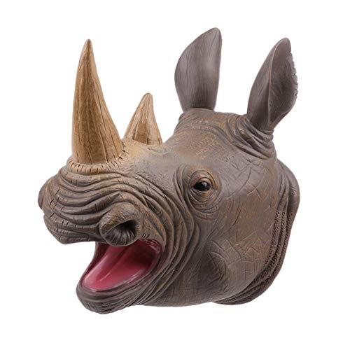 (Brightric Soft Vinyl PVC Animal Head Lifelike Rhinoceros Hand Puppet Toys Hand Doll)
