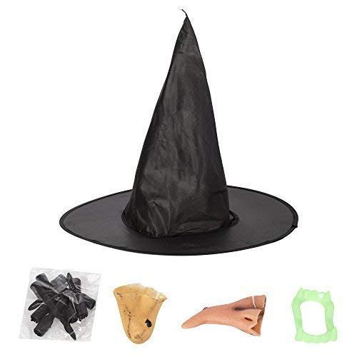 Costume Witches Dress Up Accessories Set Hat Nose Chin Teeth Nails Halloween