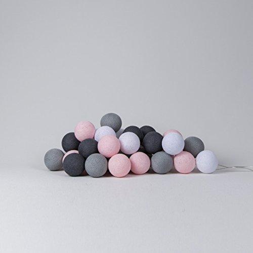 Cotton Ball Lights LED Lichterkette, Baumwolle, Weiß/Licht Rosa/Stein / Mid Grau, 41 cm 716855431790