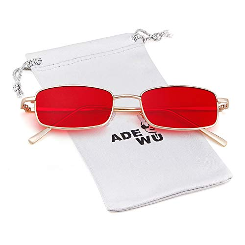 Gold Women Men ADEWU Frame Retro Fashion Sunglasses Lens Glasses Red Square for wYAqv
