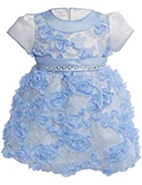 Baby Snow Blue Princess Dress - The Satin Puffy Sleeves with a Blue Satin Ribbon Filled with 3-Dimensional Roses