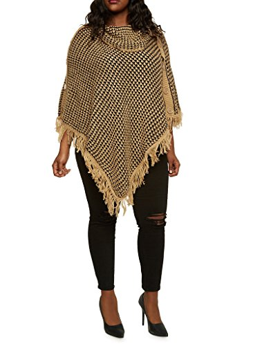 [16182XR-CML-3X] Women's Plus Size Cowl Neck Poncho V Style Wrap Fringe, Buttons (Plus Size Poncho)