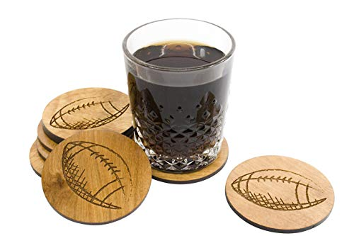 Hard Coated Hand Sketched Football Coaster Set - 3.5