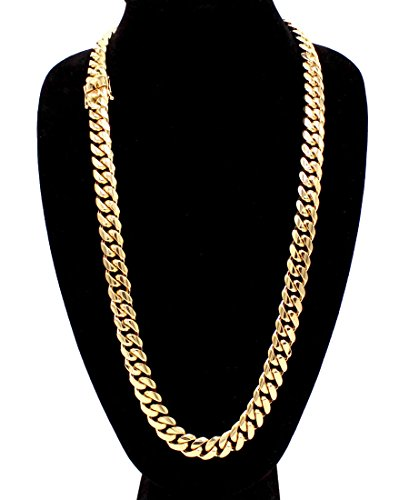 """Miami Chain Cuban (Cuban Link Necklace 18k Gold Plated Miami Cuban Chain Stainless Steel Fashion Jewelry 14 mm 30"""" Long)"""
