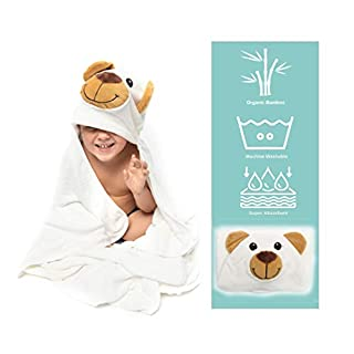 Ultra Soft Bamboo Hooded Baby Towel - Hooded Bath Towels with Ears for Babies, Toddlers - Large Baby Towel - Cute for Boys and Girls (Bear)