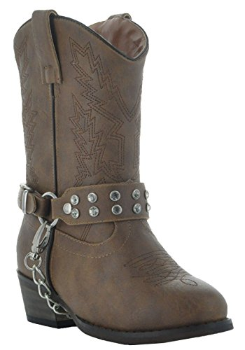 Rhinestone Little Rancher Kids Cowgirl Boots by Country Love Boots (3.5 Big Kid, Brown) (Cheap Cowgirl Boots Under 20)