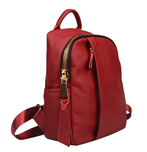 Fiswiss Purse Women's With Zipper Genuine Red Leather Backpack Big 6SHBq6
