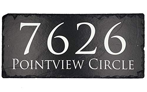 "Beautifully Handcrafted and Customizable Slate Home Address Plaque (12'x6' 16""x10"" or 18""x8"") Personalized House Sign with and mounting hardware. Improve the curb appeal of your property"