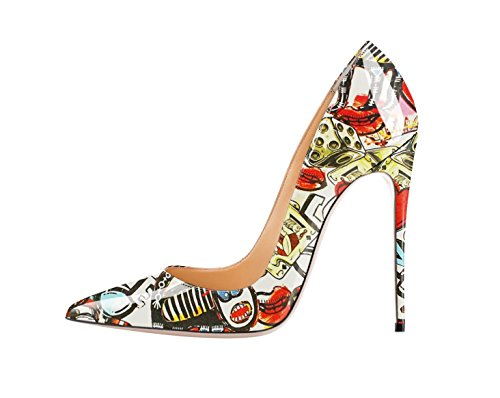 Graffiti Pointed color Graffiti Slip High SexyPrey Pumps Court Heel Toe On Stilettos Multi Women's Shoes Orange qX54Y6
