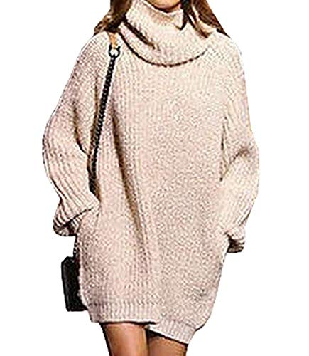 Saoye Fashion Pull Robes lgant Automne Hiver Long Manches Col Haut Baggy Casual Chaud Tricot Pullover Longues Fille Vtements Vintage Pullover Robe en Maille Tricot Pull Chunky Tricot Kaki
