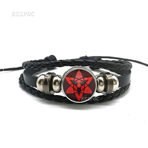 (LUCILAS Leather Bracelet 7,9 inch Sharingan Eye Bracelet Anime Naruto Braided Leather Bracelet Naruto Sasuke Uchiha Clan Rinnegan Taichi Kakashi Cosplay Jewelry)