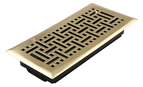 (Accord AMFRPBB410 Floor Register with Wicker Design, 4-Inch x 10-Inch(Duct Opening Measurements), Polished Brass)