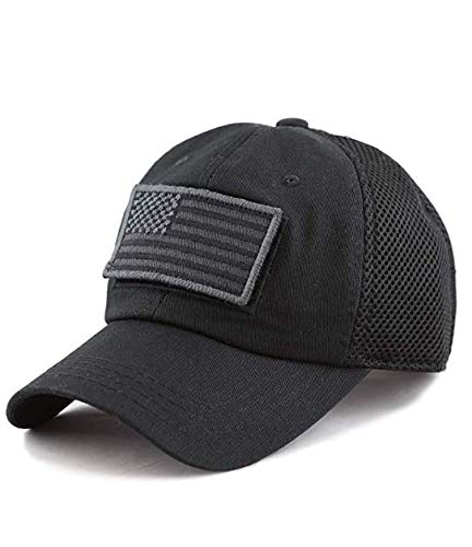 (Tactical Operator Hat w/American Flag Patch (Micro Mesh) Baseball Cap for Men and Women Velcro Back (Black))