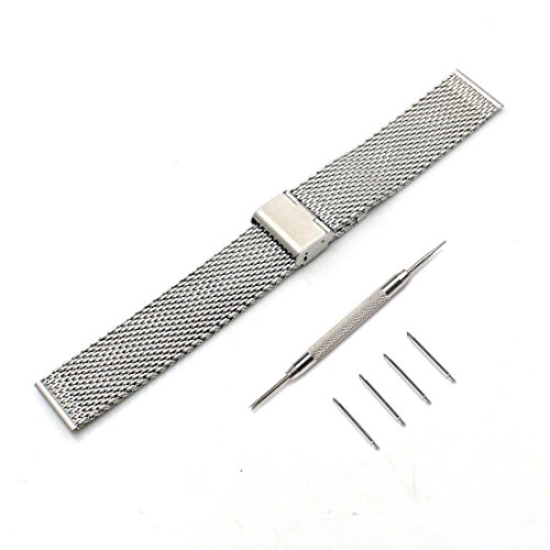 Youzel Milanese Mesh Stainless Steel Band Strap Tools For Moto 360 1st 46mm smart watch (Silver)
