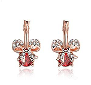 Earrings for women in the form of linked decorated with red, white zircon