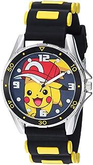 Pokemon Reloj analógico de cuarzo plateado con correa de goma, color negro, 20.7 (modelo: POK9010)
