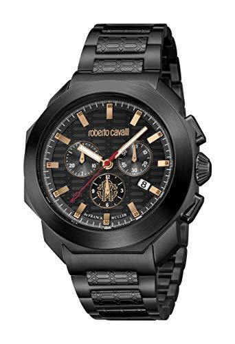 ROBERTO CAVALLI Men's RC-50 Swiss Quartz Watch with Stainless Steel Strap, Black, 20 (Model: RV1G044M0096)