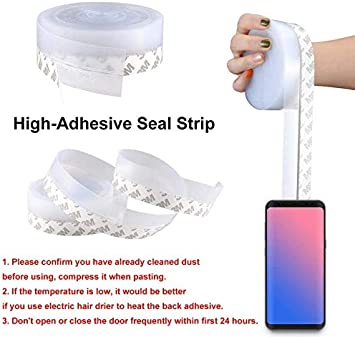 35MM Door Draft Stopper, Clear Silicone Seal Strip Door Weather Stripping Anti Collision Door Seal Tape 5M//16 Ft Sealing Sticker Adhesive for Doors and Window Gaps